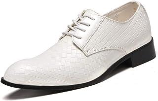 Men's Plus Size Plaid Oxford Shoes Formal Shoes (Color : White, Size : 43)