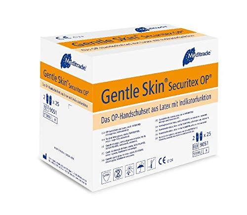 Meditrade 90517 Gentle Skin Securitex Latex OP-Handschuhset mit Indikatorfunktion, Steril, Puderfrei, Größe 7 (50-er pack)