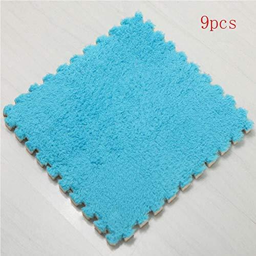 Centeraly 9Pcs Maison Chambre Velours Doux Mousse Eva Tapis Bébé Jouer Coussinet 30cm 30cm (Bleu) - Bleu, Free Size
