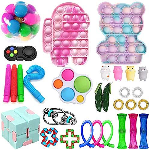 Mubineo Tik Tok Günstige Sinnes Fidget Spielzeug Set lindert Stress Angst Fidget Spielzeug-Pack-Therapie spielt Beutel für Kinder Erwachsene Autismus (Toy Set D10)