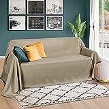 Beautissu Romantica Tagesdecke 210x280 cm - Wildleder-Optik Überdecke als Bettüberwurf und Sofaüberwurf Decke - Große Tagesdecken für Bett und Couch - Überwurfdecke in Natur