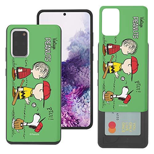 """Galaxy S20 Plus ケース と互換性があります Peanuts ピーナッツ カード スロット ダブル バンパー スマホ ケース 【 ギャラクシー S20 プラス ケース (6.7"""") 】 (可愛い ピーナッツ 野球) [並行輸入品]"""