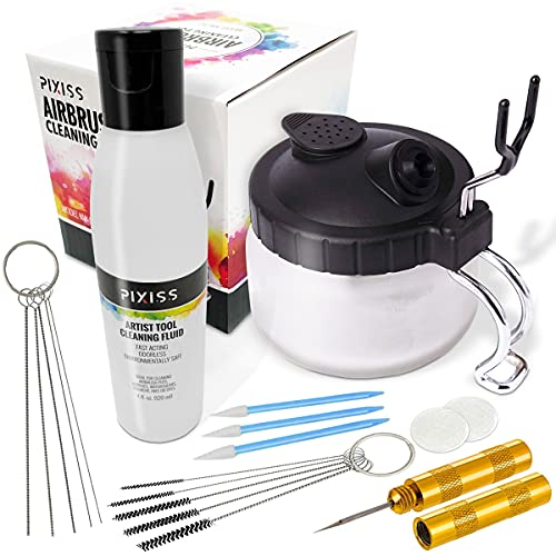 Airbrush Cleaning Kit Brush Cleaner Solution - Airbrush Clean Pot Glass Cleaning Jar with Holder, Air Brush Cleaner and Thinner, 5pc Cleaning Needles, 5pc Cleaning Brushes, 1 Wash Needle, 2 Filters