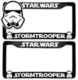Custom Car Gear (2) Star Wars Storm Troopers License Plate Frames Bracket 3D Raised Letters, Black w/White Lettering