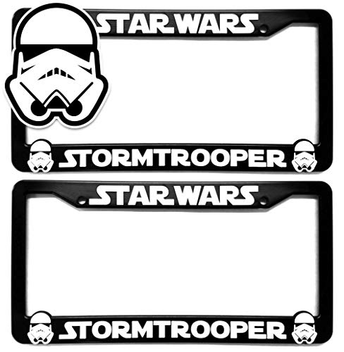 Custom Car Gear Star Wars Storm Troopers License Plate Frames Bracket 3D Raised Letters, Black w/White Lettering