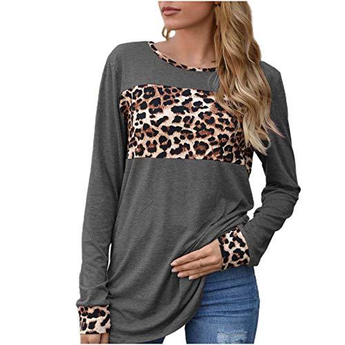 Blusa para Mujer 2020, Camisetas de Manga Larga con Cuello Redondo y Estampado de Leopardo de otoño para...
