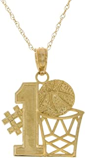 14k Yellow Gold Sports Necklace Charm Pendant with Chain, 1 Basketball Story with Hoop