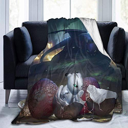 NR Jolies couvertures de lit en molleton, couvertures de Jet de Noël Light Fury Born, couverture de famille Ultra Confortable Confortable Pour Les vacances de Bureau des garçons