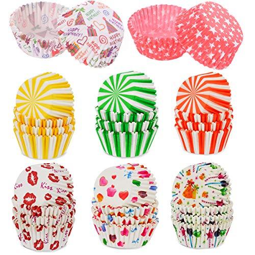Dancepandas Muffinförmchen Papier Mini 400PCS Bunt Muffin Backformen Cupcake Wrappers für Muffins Dessert Hochzeit Geburtstag Dessert, 8 Stile