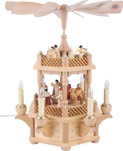 Weihnachtspyramide Christi Geburt, 33 cm hoch, elektrisch beleuchtet und angetrieben , original Erzgebirge von Richard Glässer Seiffen