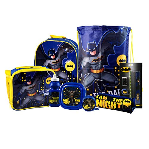 Batman 8PC Back to School Bundle - inc Backpack, Drawstring Sports Bag, Insulated Lunch Bag, Sandwich Box, Water Bottle, Coin Pouch, Pencil Case & Stationery Set.