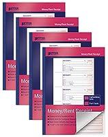 Better Office Products 現金と賃貸レシートブック 4パック Lサイズ 2パートカーボンレス (ホワイト/カナリアイエロー) 7-5/8 x 10-7/8インチ 4セット 1冊あたり200セット 合計800セット