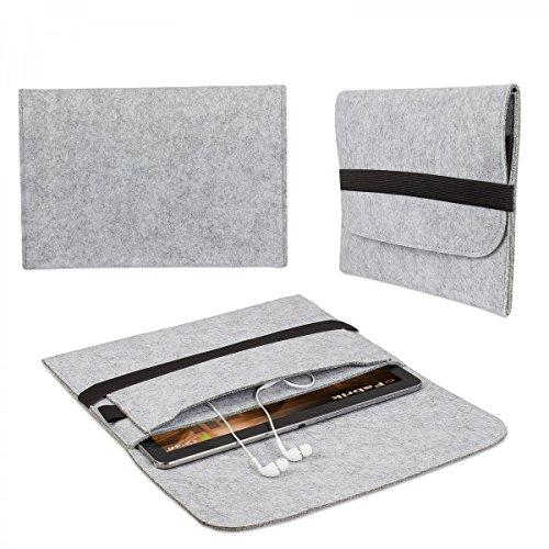 eFabrik TrekStor SurfTab Wintron 10.1 (10,1') Zoll Tasche Tablettasche Schutztasche Hülle Soft Cover Schutzhülle Filz hell grau