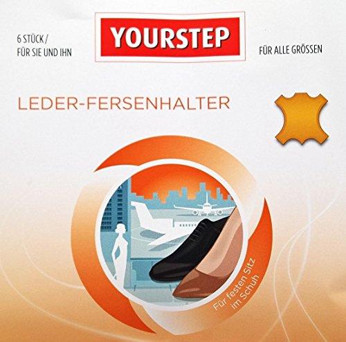 YOURSTEP Leder-Fersenhalter / Fersenschutz für den optimalen Halt im Schuh - 6 Stück für alle Größen - selbsthaftend (Anti-Slip Fersenhalter Fersenschutz Fersenpolster)