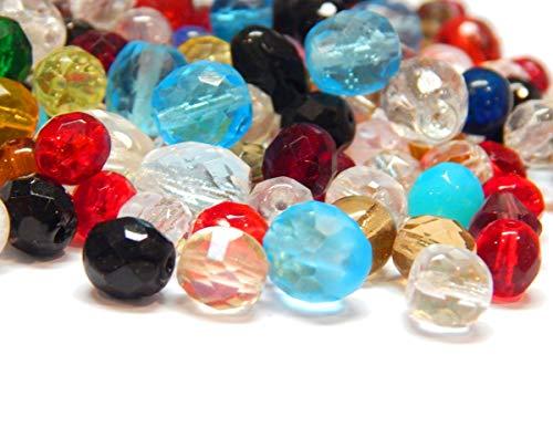 100 g Preciosa Boehmische Glasperlen facetadas Fantasía mixtas cristal checo multicolor DIY set de manualidades para la fabricación de joyas (Set 7)