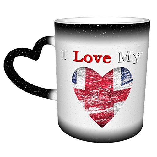 Amo mi Reino Unido Bandera británica R Taza Taza de café Cerámica Mango de corazón de cerámica