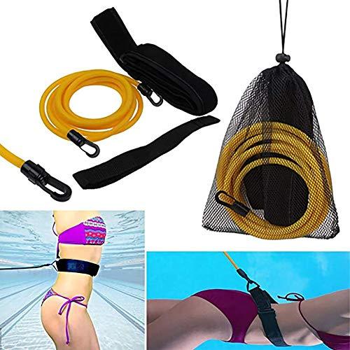 Queta Cinturón de Entrenamiento de natación Cuerda Piscina Nadar Adjustable Cinturón de Resistencia Estacionario para Natación (Amarillo)