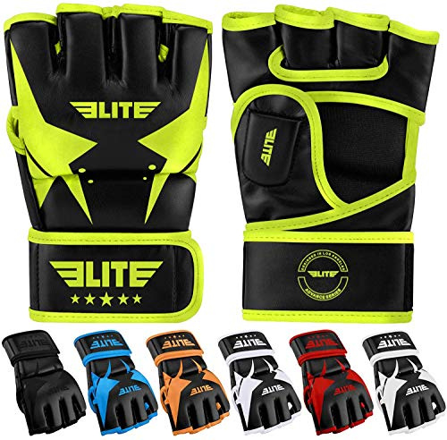 MMA UFC Gloves for Men, Women, and Kids, Elite Sports Best Mixed Martial Arts Sparring Training Grappling Fighting Gloves (Green/Black, Large/X-Large)