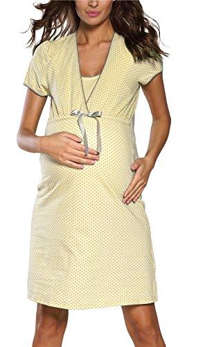 Italian Fashion IF Felicita 0114 - Camicia da notte premaman e da allattamento giallo. XL