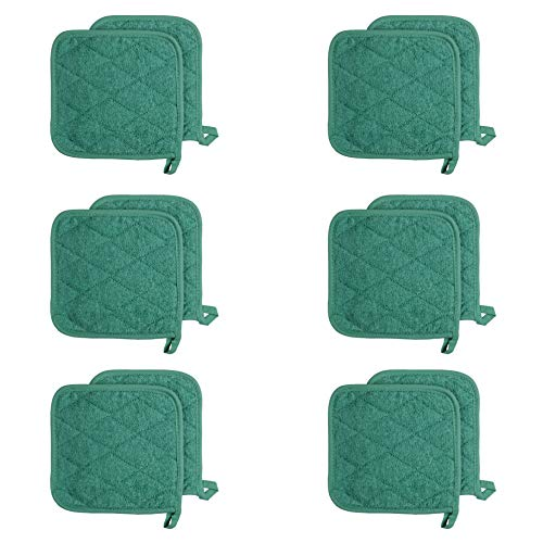 Arkwright Cotton Terry Pot Holders, Pack of 12 Kitchen Hot Pad Set, Heat Resistant Coaster Potholder for Cooking, Baking (7 x 7 Inch, Green)