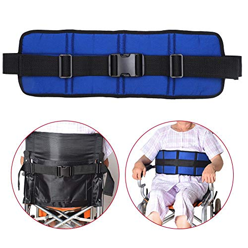 Naroote Cinturón de Silla de Ruedas Cojín de Asiento Correas de arnés de Seguridad Transpirable Ajustable para Pacientes de Edad Avanzada(Azul)