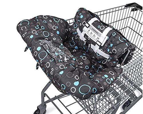 Premium Shopping Cart Cover & High Chair Cover, Easy Install, Harness System, Soft Comfort Cushioning, Universal Size (Black)