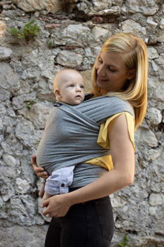 ❤️ Tragetuch Baby von Cuddlebug ❤️ mit Gratisversand – 5 Farboptionen – Baby Carrier Sling – Babytragetuch Neugeborene – Elastisches Tragetuch (Grau) - 2