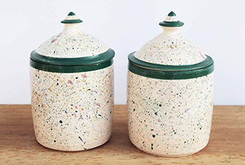 Par de botes con tapa Speckled 900ml/900ml Pair of Speckled Jar with Lid