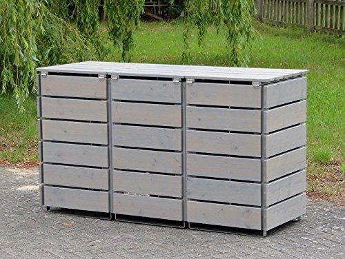 3er Mülltonnenbox / Mülltonnenverkleidung 120 L Holz, Transparent Geölt Grau - 3