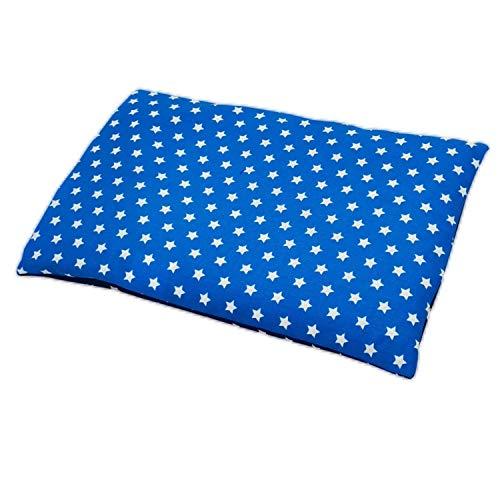 Aminata BALANCE – Wärmekissen Stern-Kissen-Motiv blau, weiß, 20x30 cm, für Nacken, Rücken, Schulter für Mikrowelle Körnerkissen Rapssamen-Kissen, gegen Fieber, Schmerzen, Sterne aus Deutschland