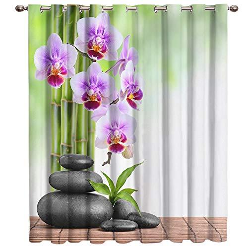 AHKGGM Tende Oscuranti Orchidea Viola e Zen Tende Termiche Isolanti 2 Pannelli Poliestere Tenda Camera da Letto Oscurante Termica Isolante con Occhielli per Casa Moderne 2x150x280 cm