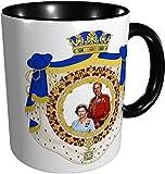 Taza de la Reina Elizabeth II y el Príncipe Felipe Reino Unido, color negro
