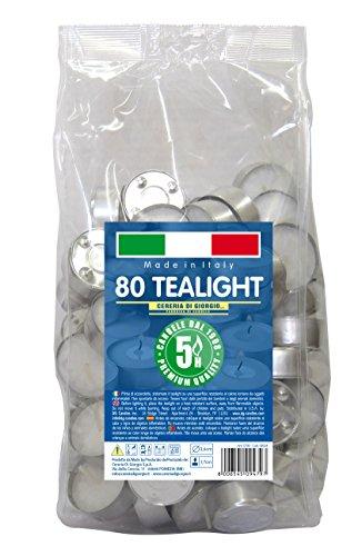 Cereria di Giorgio Risthò Tealight con Cup, Cera, Bianco, 3.6x3.6x1.7 cm, 80 unità