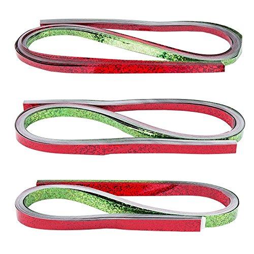 Quilling-Set metallic | 150 Folien-Streifen | 3 Größen (5/7 / 10 mm), 54 cm lang | Papierstreifen aus Metallic-Folie | Ideal für Fröbel-Sterne (rot & grün, Holografie Effekt)