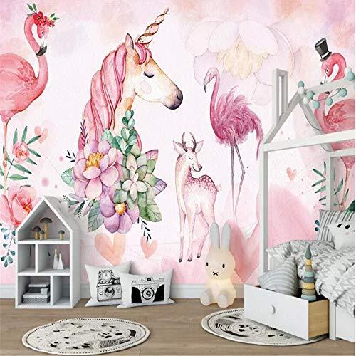 Mural PapelPintado TelaNoTejidaPapel Pintado Personalizado Mural Rosa Flamenco Unicornio Ciervo Decoración De La Habitación De Los Niños Papel Tapiz De Fondo Para Paredes 3 D @ 200 * 140 Cm