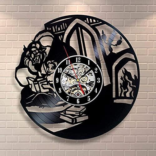 TeenieArt La Bella y la Bestia 002 Reloj de Pared de Vinilo de la Regalo Original para Decoración de la Pared Decoración de la habitación Decoración de Fiesta Hecha