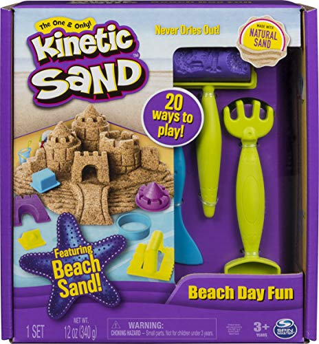 Kinetic Sand, Beach Day Fun Playset with Castle Molds,...