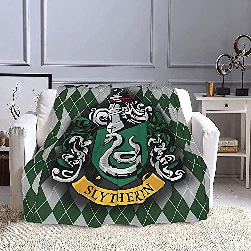 Harry-Potter Slytherin Manta Sofa de Microfibra,3D Impresión Manta,100% Franela Cálida Mantas,Manta de Aire Acondicionado,Manta Cuatro Estaciones para Adultos y Ni?os-130x150cm