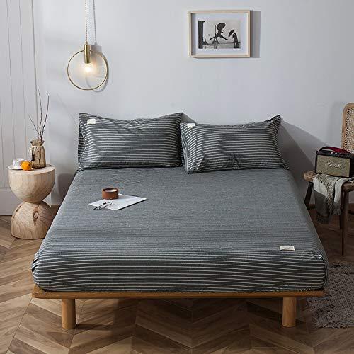 HAIBA Sábana bajera ajustable de algodón tamaño King, sábana bajera de satén suave de lujo, 100% algodón, sábana bajera ajustable extra profunda, 150 x 200 + 25 cm