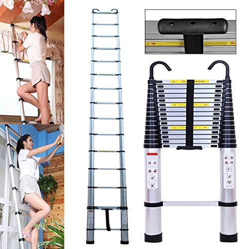 DIY Telescopische Ladder Telescopische Loft Ladder Aluminium Uitschuifbare Inklapbare Lichtgewicht Ladder, 330lbs Max Load, 15 Stappen, Ideaal voor Home Builders Zolder Werkplaats