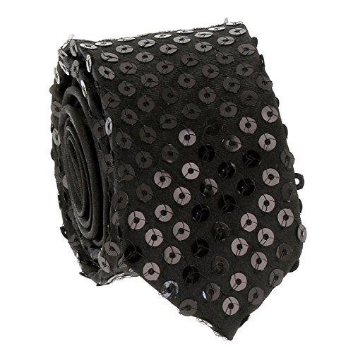 Cravate Paillette Noire - Cravate Strass Soirée - Cravate brillante