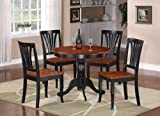 East-West Furniture ANAV5-BLK-W Dining Set- 4 Excellent Wood Chairs - A Beautiful Dinner Table- Wooden Seat - Cherry And Black Dining Table