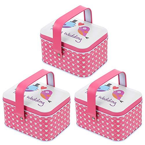 YARNOW 3 Unidades de Cajas de Dulces de Boda Románticas de Hierro Regalo Lata de Hojalata de Chocolate Caja de Pastel de Alimentos Contenedor para Fiesta de Picnic Al Aire Libre