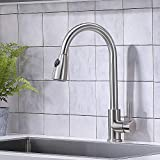 VAPSINT Commercial Single Handle High Arc Lead Free Brushed Nickel Pull Down Kitchen Faucet, Stainless Steel Kitchen Sink Faucets Without Deck Plate