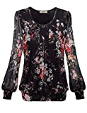 Timeson Long Sleeve Scoop Neck Pleated Blouse, Women's Bubble Hem Plus Size top Black Plus Size Formal wear...