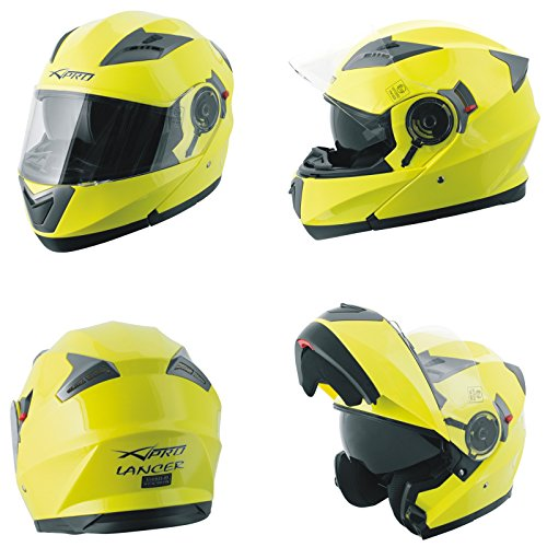 A-Pro Helm Klapphelm Innensonnenblende Motorradhelm Modular Gelb Fluo M