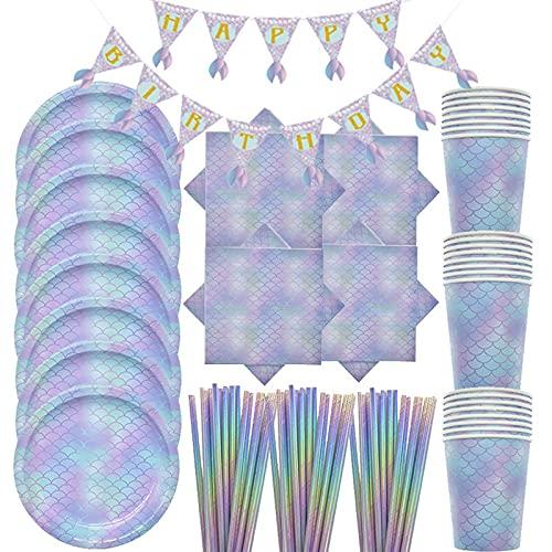 Geburtstagsparty-Zubehör Meerjungfrau Geburtstag Party Supplies Einweggeschirr Becher Teller Papier Handtuch Stroh Banner Sets Kinder Party Gastgeschenke Dekorationen (Farbe: Violett)