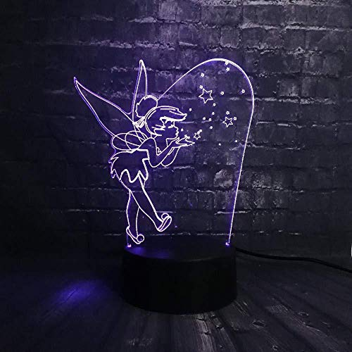 Cartoon 3D Night Light USB Rechargeable Bubble Elf Jingle Bell RGB Led Baby Sleep Emotion Desk Gloss Child Birthday Girl Gift Toy 3D Illusion Night Light Children s Bedroom Bedside Light Led