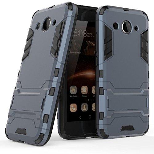 Huawei Y3 2017 Hülle, MHHQ Hybrid 2in1 TPU+PC Schutzhülle Rugged Armor Case Cover Dual Layer Bumper Backcover mit Ständer für Huawei Y3 2017 -Black Plus Gray