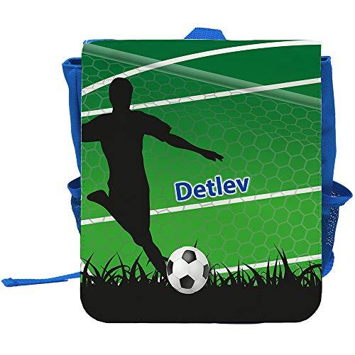 Kinder-Rucksack mit Namen Detlev und schönem Motiv mit Fußballer und Spielfeld für Jungen